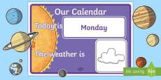 Solar System Themed Calendar Display Pack
