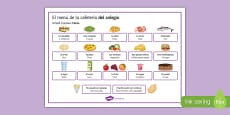 Food and Meals at the School Canteen Word Mat Spanish Translation