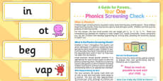 Year 1 Phonics Screening Check Parents Guide and Card Pack