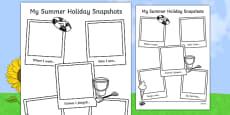 Summer Holiday Snapshots Writing Frame