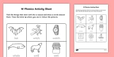 w Phonics Activity Sheet