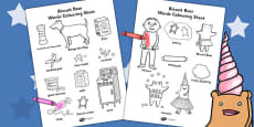Words Colouring Sheet to Support Teaching on Biscuit Bear