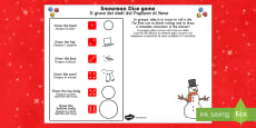 Snowman Dice Game Activity Sheet English/Italian