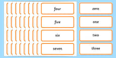 0-100 Number Words Word Cards
