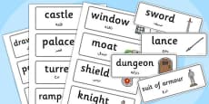 Castles and Knights Topic Word Cards Arabic Translation