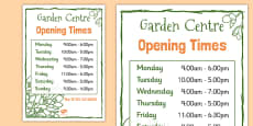 Garden Centre Role Play Opening Times