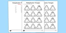 Multiplication Triangles Activity Sheet 2 to 12 Times Tables