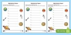 Space Alphabet Ordering Activity Sheet