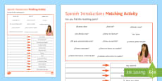 Introductions Lower Ability Matching Differentiated Activity Sheet Spanish