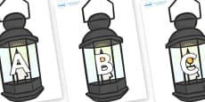 A-Z Alphabet on Lamps