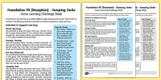 Foundation PE (Reception) - Jumping Jacks Home Learning Challenge Sheet