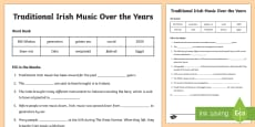 Traditional Irish Music Over the Years Cloze Activity Sheet