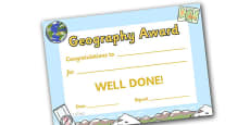 Geography Award Certificate