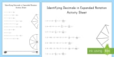 * NEW * Identifying Decimals in Expanded Notation Activity Sheet