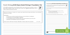 GCSE French Open Ended Writing 5 Foundation Tier Activity Sheet