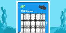 Under the Sea Themed 100 Number Square