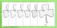 St Patricks Day Patterned Shamrock Colouring Sheets