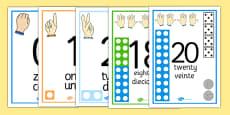Visual Numberline Posters 1-20 Spanish Translation