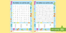 Numbers 0 to 10 Word Search German