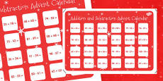 2 Digit Numbers to 100 Addition and Subtraction Advent Calendar