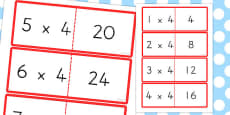 Australia - 4 Times Table Cards
