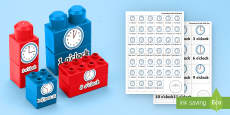 * NEW * O'Clock and Half Past Times Matching Connecting Bricks Game