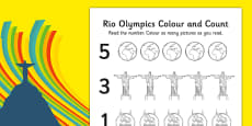 Rio Olympics 2016 Count and Colour Activity Sheet