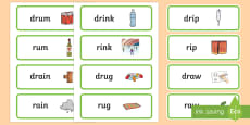 'dr' and 'r' Near Minimal Pair Word Cards