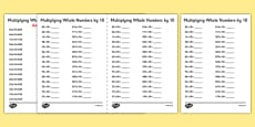 Multiplying Whole Numbers by 10 A5 Activity Sheet