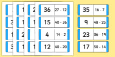 Subtraction Loop Cards to 50
