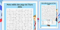 Euro 2016 Countries French Word Search