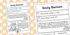 Emily Davison Significant Individual Fact Sheet