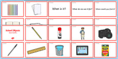 School Objects Quiz Cards