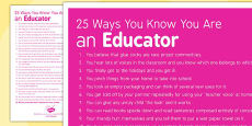 25 Ways You Know You Are an Educator Poster