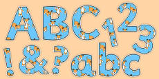 Dog Themed Display Letters and Numbers to Support Teaching on The Blue Balloon
