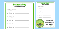 Father's Day Simile Poem Card Template