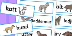 Swedish Animals Word Cards