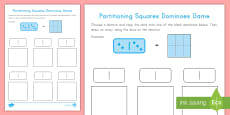 Partitioning Squares Dominoes Game