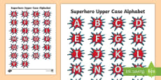 Superheroes Uppercase Letter Tracing Activity Sheet