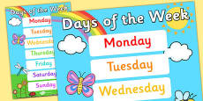 Days of the Week Display Poster