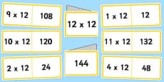 12 Times Table Folding Cards