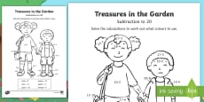 * NEW * Treasures in the Garden Subtraction Colour by Number