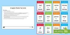 Irregular Plural Nouns Top Cards Game