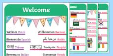 Mixed Language Welcome Door Signs