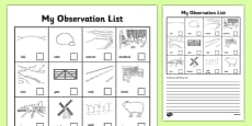 Local Walk Observation Sheets