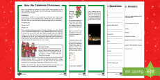 How We Celebrate Christmas Differentiated Reading Comprehension Activity