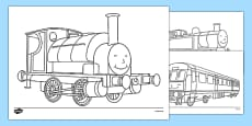 Talking Steam Train Themed Colouring Sheets