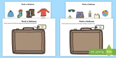 Pack a Suitcase Compare Hot and Cold Cut and Stick Activity