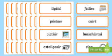 Around the Classroom Word Cards Gaeilge