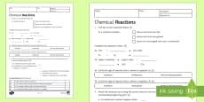 KS3 Chemical Reactions Homework Activity Sheet